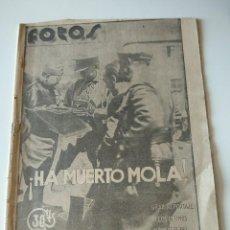 Militaria: FOTOS SEMANARIO GRAFICO FALANGISTA Nº15 JUNIO 1937. HA MUERTO MOLA! GUERRA CIVIL. ORIAMENDI. Lote 123140823