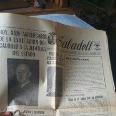 Militaria: PERIÓDICO DE SABADELL AÑO 1960 FALANGE. Lote 130535900