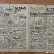 Militaria: CNT ASTURIAS, LEON Y PALENCIA 19 DE JUNIO 1937 GUERRA CIVIL BILBAO NO CEDE, EUZKADI, OBREROS GIJON. Lote 130852932