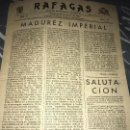 Militaria: ANTIGUO SEMANARIO RÁFAGAS REGIMIENTO ARGEL NÚM 67 1942 DIVISIÓN AZUL. Lote 135781442