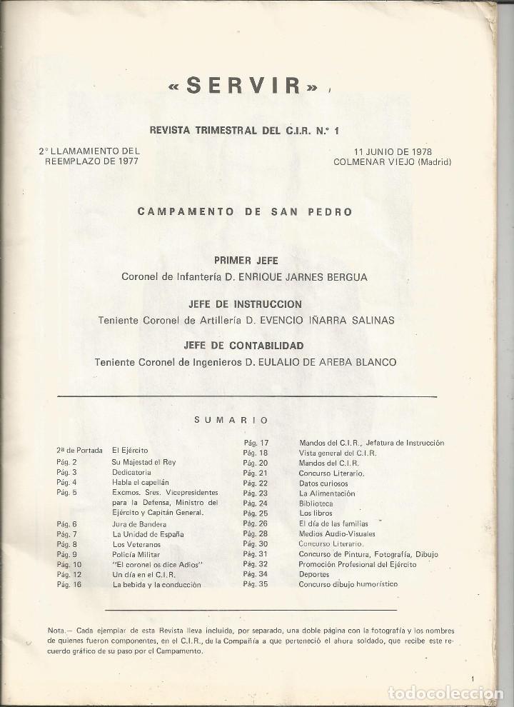 Militaria: SERVIR - REVISTA DEL C.I.R. Nº 1 - COLMENAR VIEJO - SEGUNDO LLAMAMIENTO REEMPLAZO 1977 - Foto 2 - 140661706