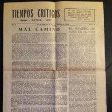 Militaria: TIEMPOS CRÍTICOS -DIOS - PATRIA - REY- Nº 18 FEBRERO 1952 - CARLISMO - CARLISTA - REQUETÉ. Lote 144050570