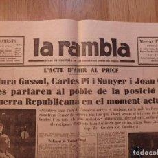 Militaria: (JX-181282)PERIÓDICO GUERRA CIVIL, LA RAMBLA , DIARI CATALANISTA DE LES ESQUERRES , 14 DE SEPTIEMBR. Lote 144730430