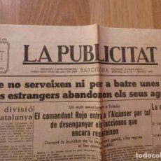 Militaria: (JX-190101)PERIÓDICO , LA PUBLICITAT ,(EN CATALÁN) , GUERRA CIVIL . 10 DE SEPTIEMBRE DE 1936 .. Lote 145529722