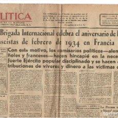 Militaria: PERIÓDICO POLÍTICA EDITA PRENSA REPUBLICANA. CNT. UGT. FAI.. Lote 147696202