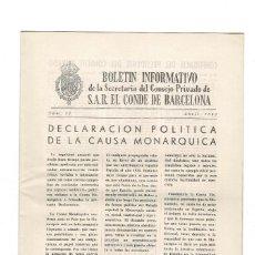 Militaria: BOLETIN INFORMATIVO S.A.R. EL CONDE DE BARCELONA - 1963. Lote 147697598