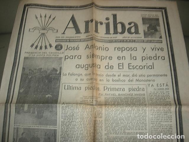 ARRIBA Nº 210 VIERNES 1 DE DICIEMBRE 1939 JOSE ANTONIO REPOSA EN LA PIEDRA AUGUSTA DEL ESCORIAL (Militar - Revistas y Periódicos Militares)