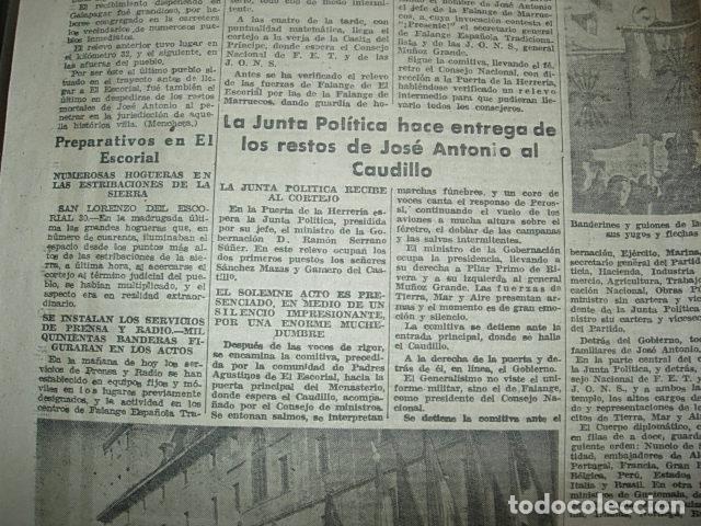 Militaria: Arriba nº 210 Viernes 1 de Diciembre 1939 Jose Antonio reposa en la piedra augusta del Escorial - Foto 4 - 149310434