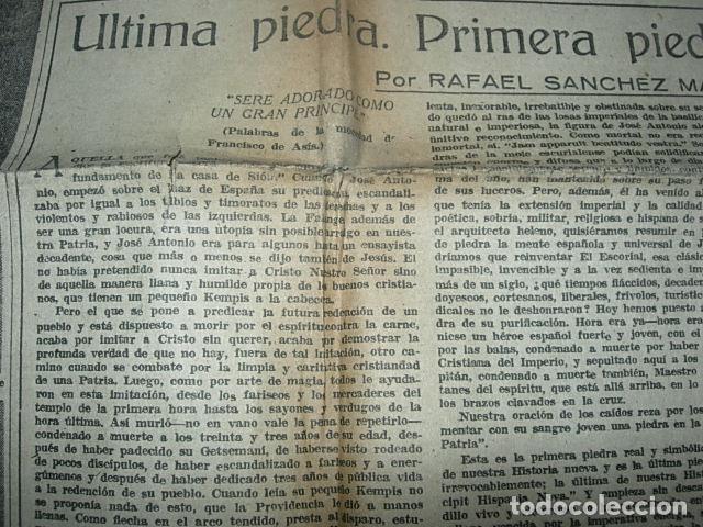 Militaria: Arriba nº 210 Viernes 1 de Diciembre 1939 Jose Antonio reposa en la piedra augusta del Escorial - Foto 8 - 149310434