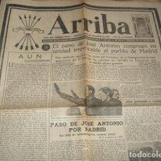 Militaria: DIARIO DE LA MAÑANA ARRIBA Nº 209 JUEVES 30 DE NOVIEMBRE 1939 EL PASO DE JOSE ANTONIO POR MADRID. Lote 149311782