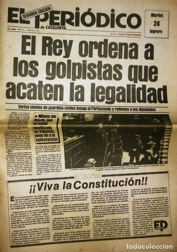GOLPE DE ESTADO 23F. EL PERIÓDICO DE CATALUNYA. 24 DE FEBRERO 1981. SEGUNDA EDICIÓN. 39 PÁGINAS (Militar - Revistas y Periódicos Militares)