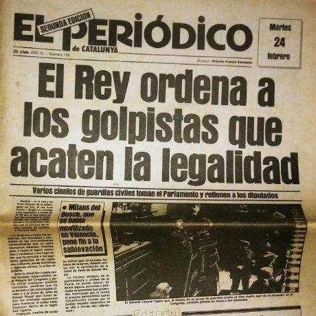 Golpe de estado 23F. El Periódico de Catalunya. 24 de febrero 1981. Segunda edición. 39 páginas