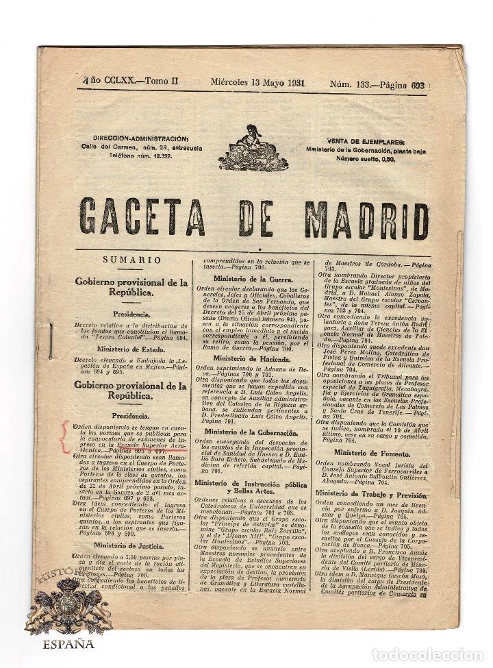 GACETA DE MADRID 13 MAYO 1931 (Militar - Revistas y Periódicos Militares)