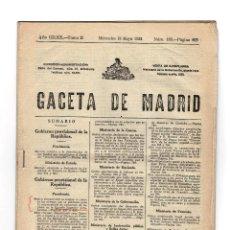 Militaria: GACETA DE MADRID 13 MAYO 1931. Lote 155489222