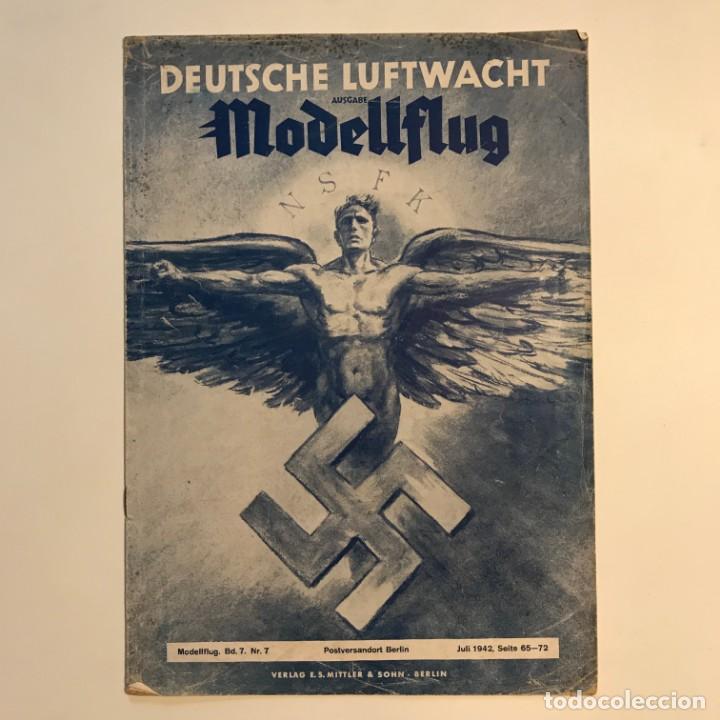 Militaria: 1942 Revista alemana Deutsche Luftwacht Ausgabe Modellflug 21x29,7 cm - Foto 2 - 159447594