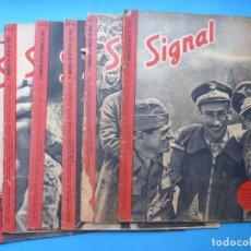 Militaria: SIGNAL - 6 ANTIGUAS REVISTAS DIFERENTES, AÑO 1942, INCLUYEN POSTER CENTRAL - VER FOTOS ADICIONALES. Lote 177402419