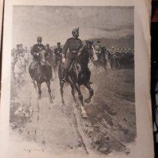 Militaria: DE MANIOBRAS ,DIBUJO DE ESTEVAN - EN LOS VALLES DE ALAVA Y NAVARRA POR EL SEXTO CUERPO - AÑO 1897. Lote 180468308