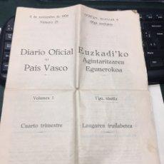 Militaria: DIARIO OFICIAL DEL PAIS VASCO - 06//11/1936. Lote 183836091