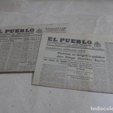 Militaria: * LOTE 2 ANTIGUOS DIARIOS DE UNION REPUBLICANA NACIONAL, EL PUEBLO, GUERRA CIVIL. ORIGINALES. ZX. Lote 187398318