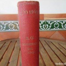 Militaria: TOMO AÑO 1940 CON BOLETINES OFICIALES DEL MINISTERIO DE AIRE BOLETÍN OFICIAL CON PUBLICIDAD. Lote 195468685