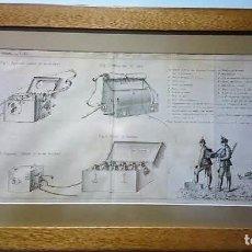Militaria: LÁMINA ENMARCADA,REVUE DE L'ARTILLERIE FRANÇAISE DEL AÑO 1904,TÉLÉGRAPHE DE CAMPAGNE,580 X 310 MM. Lote 196916071