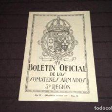 Militaria: BOLETIN OFICIAL SOMATENES ARMADOS QUINTA REGIÓN ZARAGOZA MARZO 1927 ... ZKR. Lote 199886582