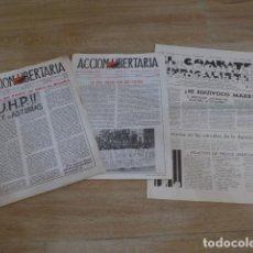 Militaria: LOTE ANTIGUO DE DIARIOS DE CNT DE ASTURIAS ACCION LIBERTARIA + 1 EXILIO FRANCIA TRANSICION POLITICA.. Lote 200173471