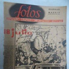 Militaria: LOTE RECORTES SEMANARIO FOTOS, 18 JULIO 1942, FRANCO, VER FOTOS. Lote 208971720