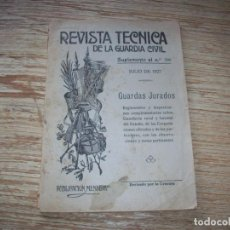 Militaria: REVISTA TECNICA DE LA GUARDIA CIVIL . JULIO DE 1927 .. Lote 213012522