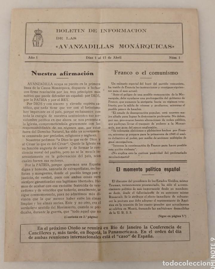 BOLETÍN DE INFORMACIÓN DE LAS AVANZADILLAS MONÁRQUICAS - AÑO 1. N° 1. (Militar - Revistas y Periódicos Militares)