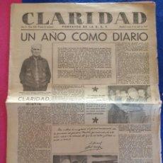 Militaria: PERIODICO CLARIDAD.- PORTAVOZ DE LA UGT. Nº 325.- 6 ABRIL 1937.- ORIGINAL.. Lote 220260677