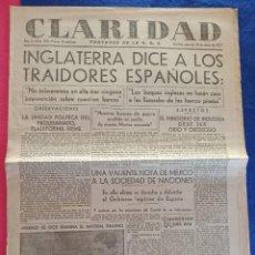 Militaria: PERIODICO CLARIDAD.- PORTAVOZ DE LA UGT. Nº 320.- 31 MARZO 1937.- ORIGINAL.. Lote 220261607