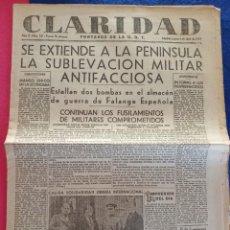 Militaria: PERIODICO CLARIDAD.- PORTAVOZ DE LA UGT. Nº 321.- 1 ABRIL 1937.- ORIGINAL.. Lote 220262015