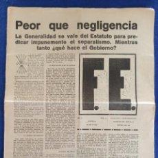 Militaria: F.E. Nº 15.- 19 - JULIO - 1934.- SEMANARIO DE LA FALANGE.- ORIGINAL.. Lote 220864811