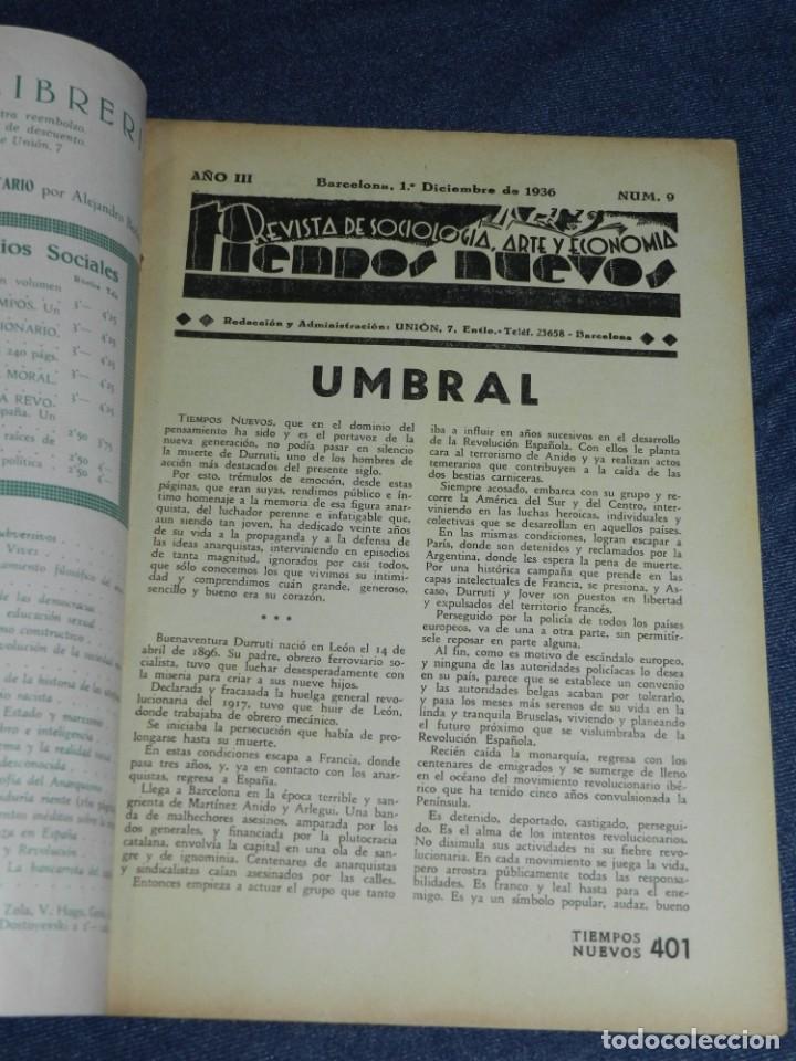 Militaria: GUERRA CIVIL ANARQUISMO REVISTA TIEMPOS NUEVOS AÑO III BARCELONA 1ºDIC. 1936 Nº 9 CARTEL DESPLEGABLE - Foto 3 - 221800183