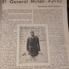 Militaria: RADIO NACIONAL. REVISTA SEMANAL DE RADIODIFUSIÓN. 1939 . MILLAN ASTRAY. LEGION ESPAÑOLA. Lote 222367265