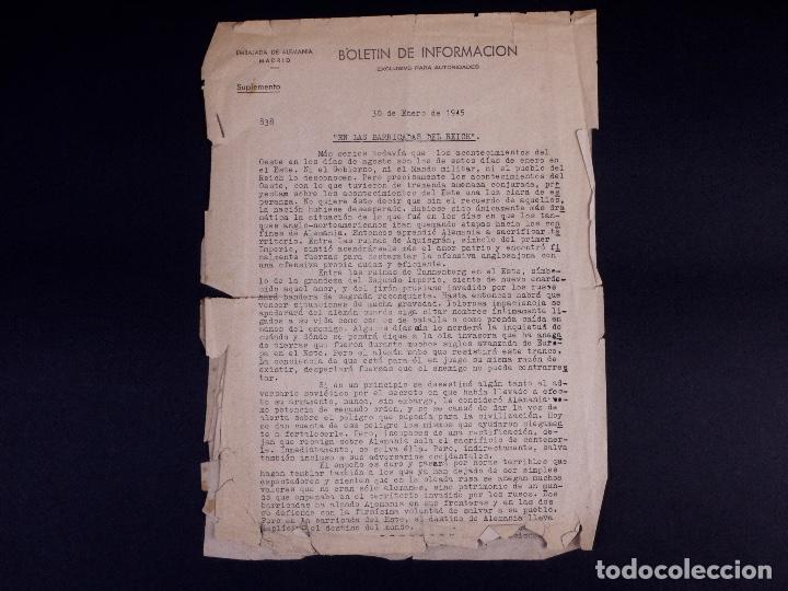 EMBAJADA ALEMANA EN MADRID. BOLETÍN DE INFORMACIÓN 1945 (Militar - Revistas y Periódicos Militares)