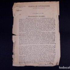 Militaria: EMBAJADA ALEMANA EN MADRID. BOLETÍN DE INFORMACIÓN 1945. Lote 222418346