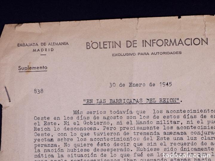Militaria: EMBAJADA ALEMANA EN MADRID. BOLETÍN DE INFORMACIÓN 1945 - Foto 2 - 222418346