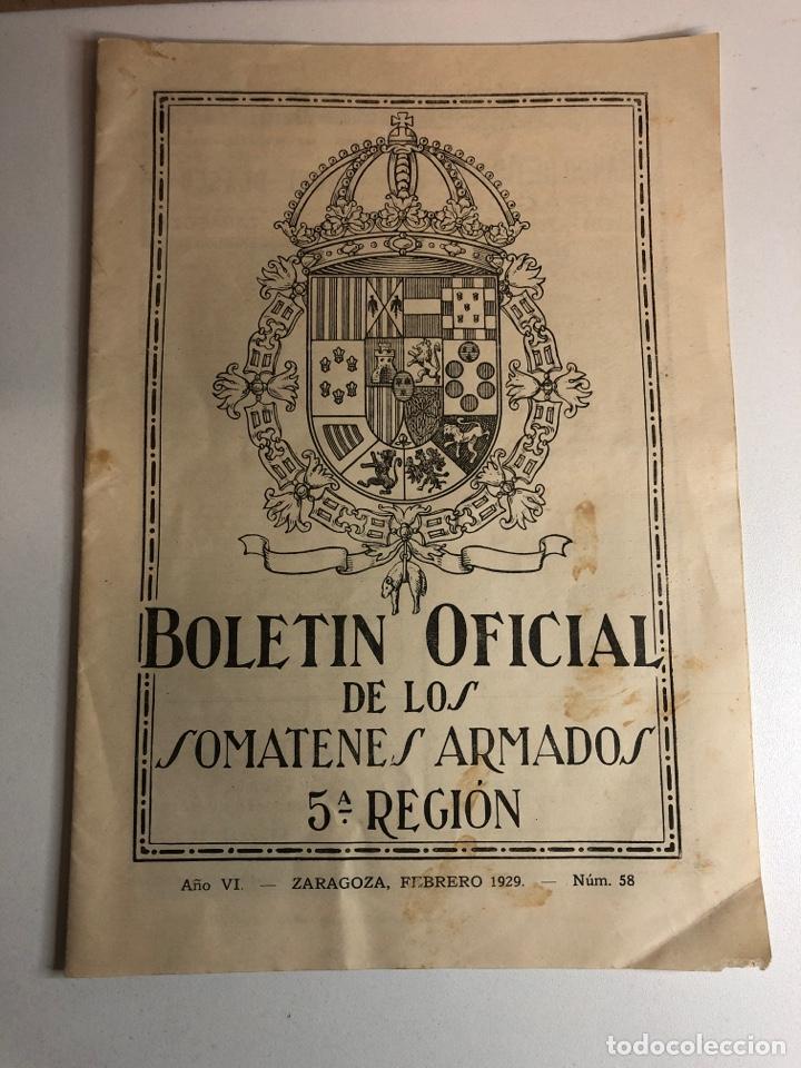 BOLETÍN OFICIAL SOMATENES ARMADOS QUINTA REGIÓN 5 REGIÓN ZARAGOZA FEBRERO 1929 (Militar - Revistas y Periódicos Militares)