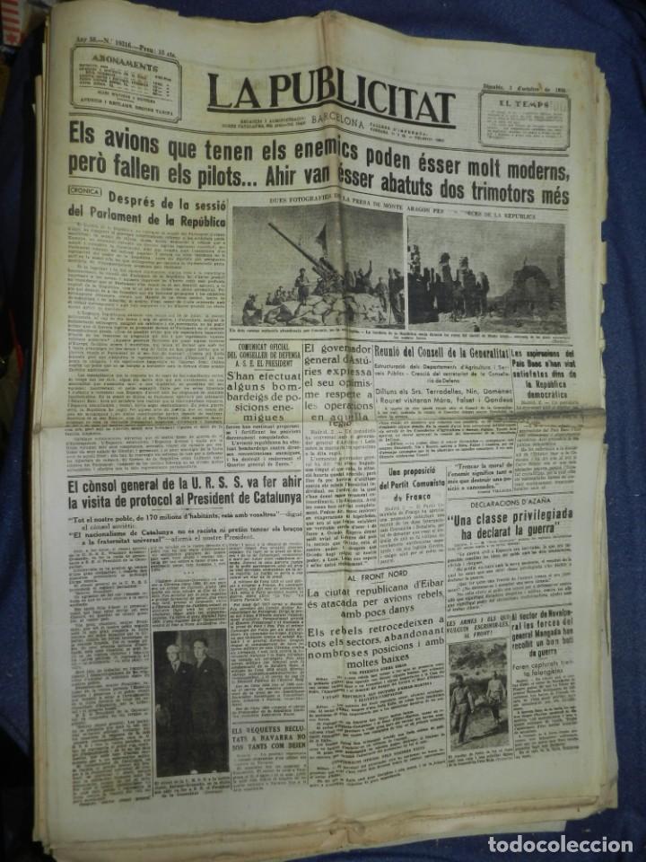 (MF) LA PUBLICITAT 3 OCTUBRE 1936 MONTE ARAGON PER LES FORÇES DE LA REPUBLICA (Militar - Revistas y Periódicos Militares)