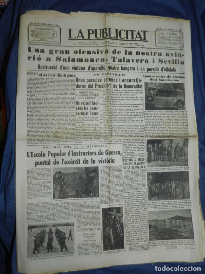 (M) LA PUBLICITAT 31 OCTUBRE 1936 UNA GRAN OFENSIVA DE LA NOSTRA AVIACIO A SALAMANCA I SEVILLA (Militar - Revistas y Periódicos Militares)