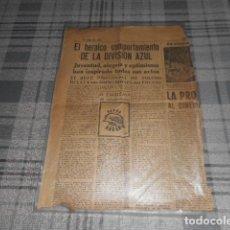 Militaria: RECORTE DE PERIODICO DE LA DIVISION AZUL. Lote 231207020