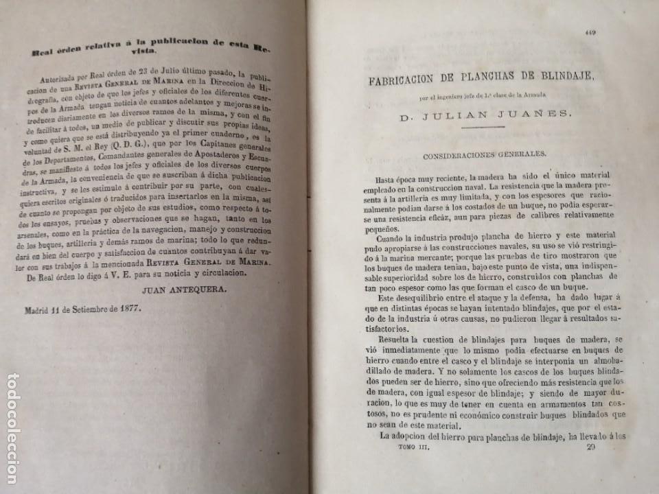 Militaria: REVISTA GENERAL DE MARINA 1878 ILUSTRADA MUY RARA - Foto 3 - 234404205
