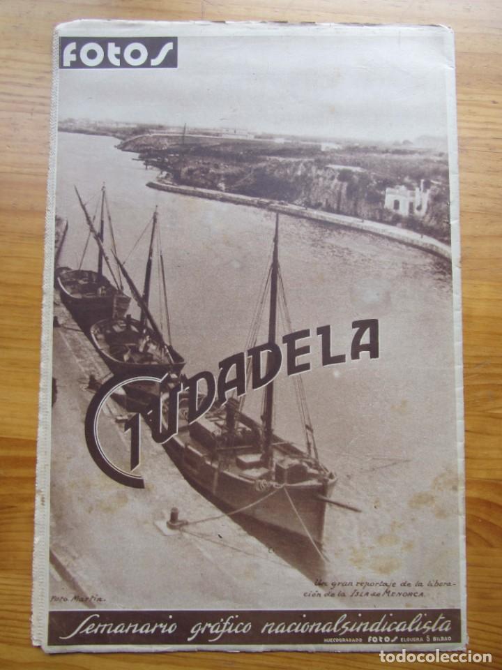 Militaria: Semanario gráfico FOTOS nº 106 (11 marzo 1939) Guerra civil. Port-Bou. Liberación Menorca. Ciudadela - Foto 2 - 234937300