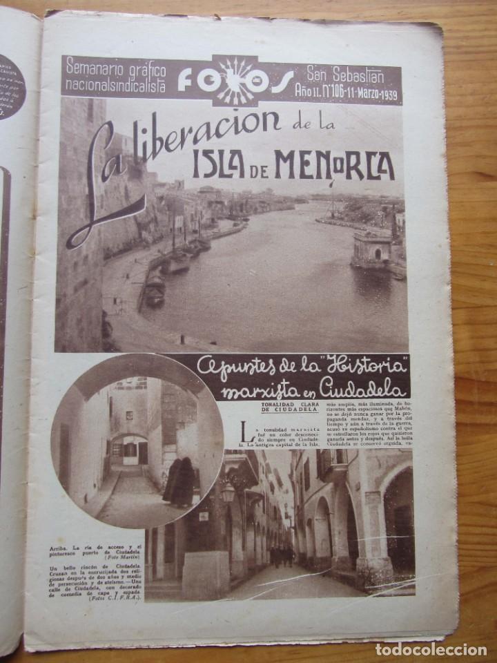 Militaria: Semanario gráfico FOTOS nº 106 (11 marzo 1939) Guerra civil. Port-Bou. Liberación Menorca. Ciudadela - Foto 3 - 234937300