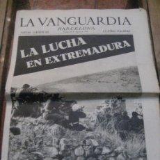 Militaria: LA VANGUARDIA . 4 PAGINAS 1936 . GUERRA CIVIL . LA LUCHA EN EXTREMADURA . TARDIENTA . MALLORCA. Lote 238860255
