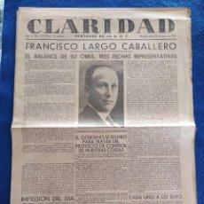 Militaria: PERIODICO CLARIDAD.- PORTAVOZ DE LA UGT. Nº 313.- 23 MARZO 1937.- ORIGINAL.. Lote 241937790