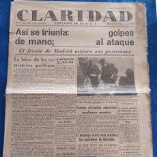 Militaria: PERIODICO CLARIDAD.- PORTAVOZ DE LA UGT. Nº 300.- 8 MARZO 1937.- ORIGINAL.. Lote 241938605