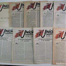 Militaria: UNIÓN, REVISTA NACIONAL DE LA VIEJA GUARDIA AÑO - DEL Nº 1 AL 8 + ÍNDICE ANUAL - COMPLETO DE 1948 -. Lote 254921105